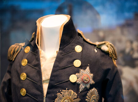admiral: Uniform of Viscount Horatio Nelson at the National Maritime Museum in Greenwich London that he was wearing when he was shot at the Battle of Trafalgar Editorial