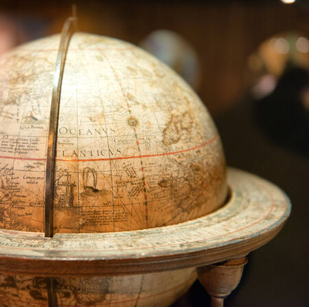 Close Up of Historical Stand Globe with Focus on Atlantic Ocean