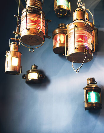 hurricane lamp: Looking Up at Variety of Lit Colorful Lanterns Stock Photo