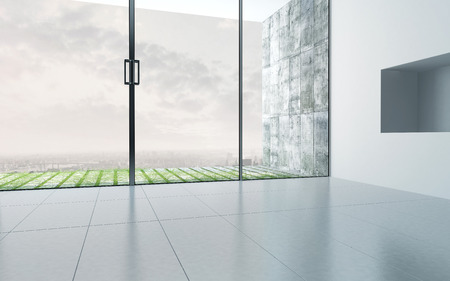 Empty room interior with extensively glazed facade
