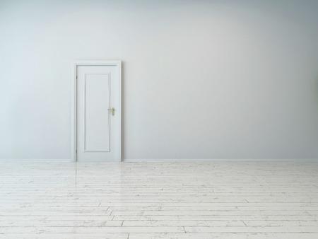 Simple Puerta Blanca Única sobre Llanura Pared Blanca, capturados en un edificio vacío.