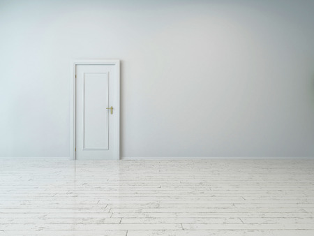 room access: Simple Single White Door on Plain White Wall, Captured Inside an Empty Building.