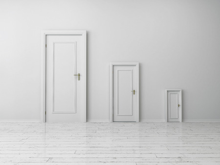 Similar Style but Different Sizes White Indoor Doors on Plain White Wall Inside an Empty House.