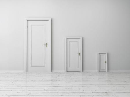 decreasing in size: Stile simile ma dimensioni diverse porte bianche al coperto su Plain White parete interna una casa vuota.