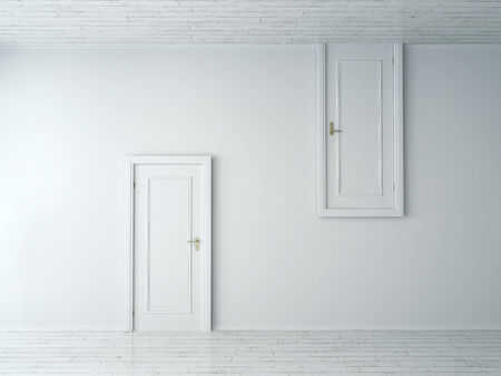 opposed: Conceptual Opposite Simple Style Single Doors on Plain White Wall. One is from Wall to Floor and the Other is from Wall to Ceiling.