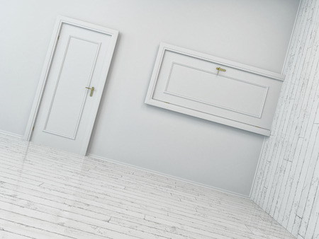 Conceptual Simple Style White Indoor Doors Positions on a White Empty Room. photo