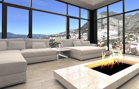 Open Fireplace at Elegant Architectural Living Room Design with Transparent Glass Walls. photo