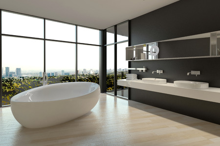 White Ceramic Bathtub and Sinks on Elegant Bathroom Design with Large Window Styles. Banque d'images