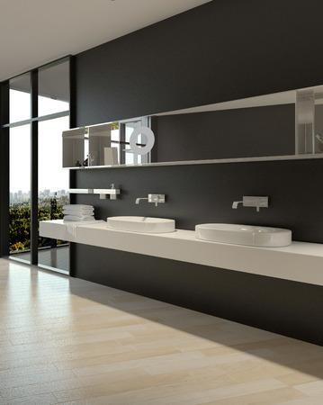 Elegant Architectural Interior White Sinks Design on Black Plain Wall. Stock Photo
