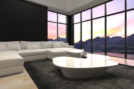 living room design: Elegant Black and White Architectural Living Room Design with Transparent Glass Walls Style.