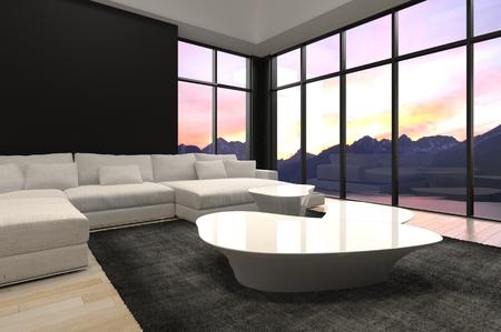 Moderne Graue Wohnzimmer Innenraum Mit Einer Kreisförmigen Fenster ...