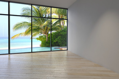 Simple Architectural Empty Room Design with Transparent Glass Walls Style. photo