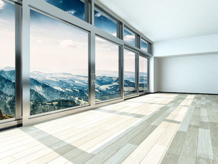 Overlooking Outside View from Large Windows on Metal Frames in Architectural Interior Design.