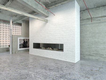 Stylish Architectural House Interior Design for Industrial Loft Area. photo