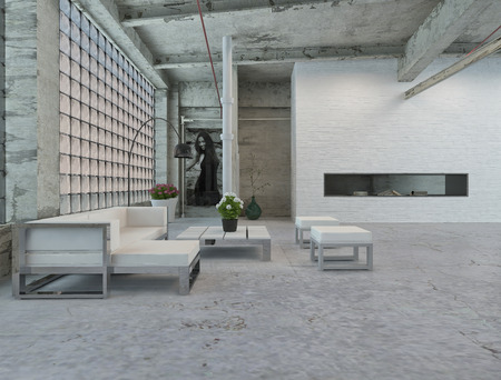 Elegant Architectural Interior Loft Design with Small White Table and Chairs Style photo