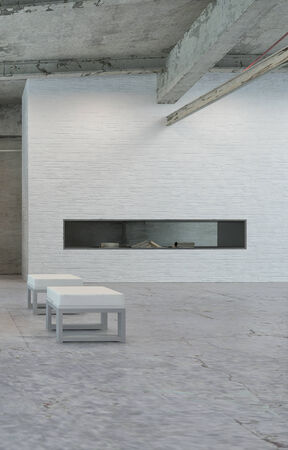 Small White Chairs Near the Storage Area on Simple Architectural Loft. photo