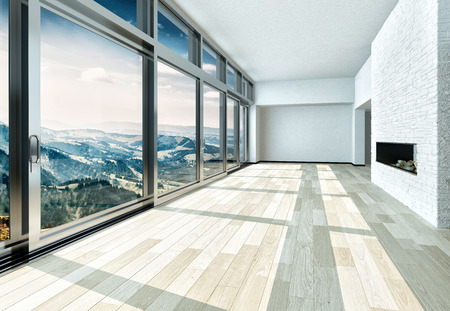 architectural styles: Beautiful Architectural Empty Building Interior Design with White Walls and Glass Windows Styles.