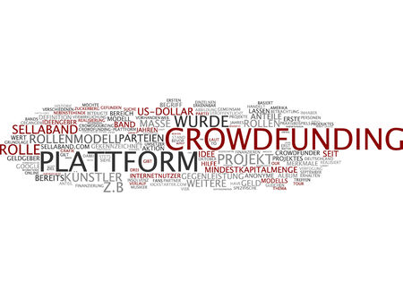 contributions: Word cloud of crowdfounding in German language Stock Photo