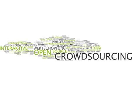 crowdsourcing: Word cloud of crowdsourcing in German language Stock Photo