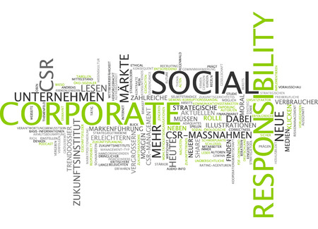 responsabilidad: Nube de palabras de la responsabilidad social empresarial en lengua alemana