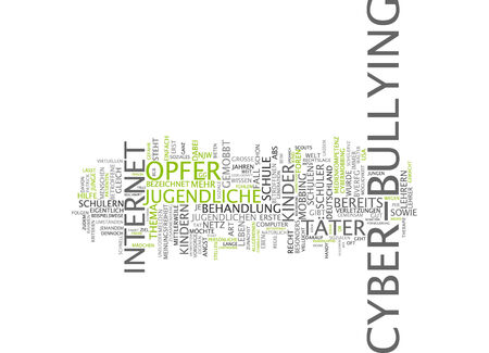 Word cloud of cyber bullying in German language photo