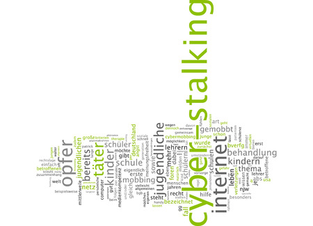 harass: Word cloud of cyber-stalking in German language