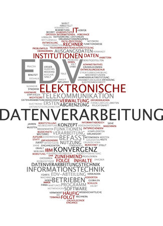 edv: Word cloud of electronic data processing in German language Stock Photo