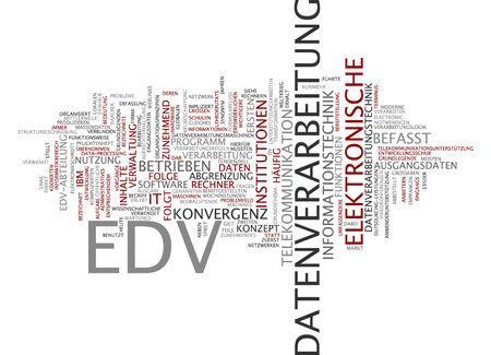 edv: Word cloud dell'elaborazione elettronica dei dati in lingua tedesca