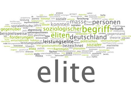 sociological: Word cloud of elite in German language