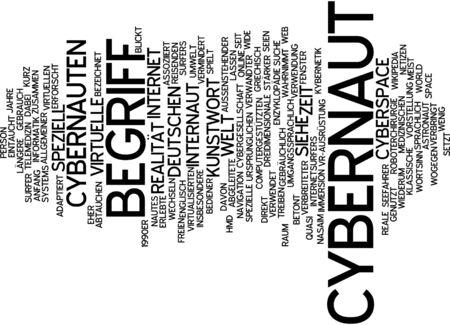 Word cloud of cybernaut in German language photo