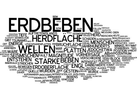 magnitude: Word cloud of earthquake in German language Stock Photo