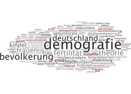 demografia: Nube de palabras de la demografía en lengua alemana Foto de archivo