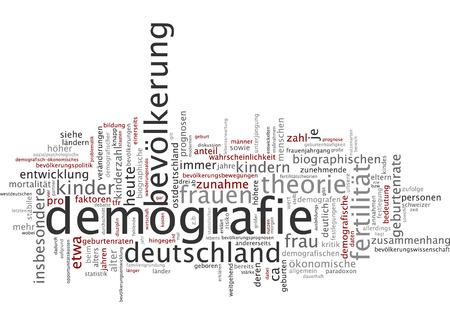 Word cloud of demography in German language photo