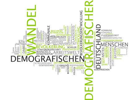 demographic: Word cloud del cambiamento demografico in lingua tedesca