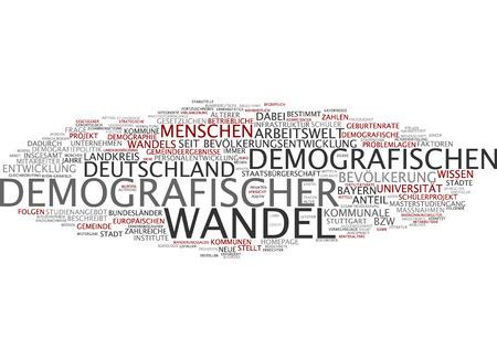 demographic: Parola nube del cambiamento demografico in lingua tedesca Archivio Fotografico