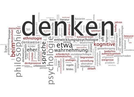 distinguish: Word cloud of think in German language