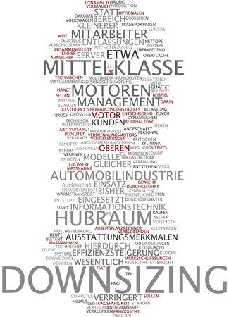 Word cloud of downsizing in German language Stock Photo