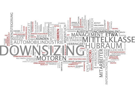 downsizing: Word cloud of downsizing in German language Stock Photo