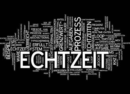 satisfies: Word cloud of real-time in German language Stock Photo