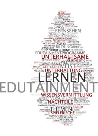 Word cloud of edutainment in German language photo