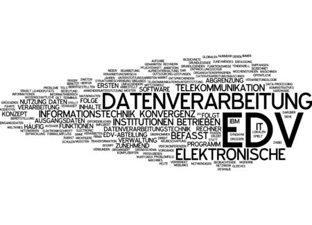 convergence: Word cloud of electronic data processing in German language Stock Photo