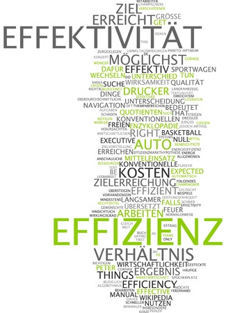 effectiveness: Word cloud of effectiveness and efficiency in German language