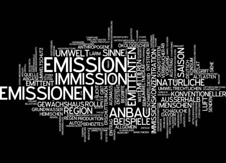 emission: Word cloud of emission in German language Stock Photo