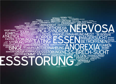 affected: Word cloud of eating disorder in German language Stock Photo