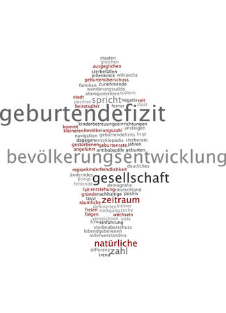reasons: Word cloud of birth deficit in German language Stock Photo
