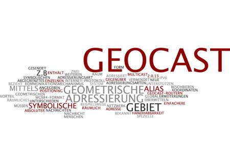 Word cloud of geocast in German language Stock Photo
