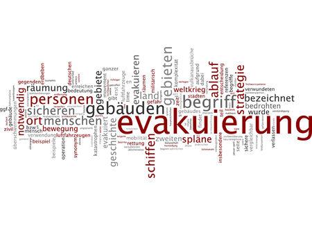 evacuacion: Nube de palabras de evacuación en lengua alemana