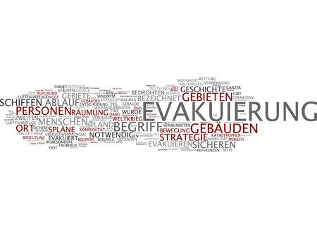 evacuatie: Word cloud of evacuation in German language