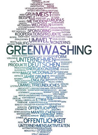 sponsoring: Word cloud of greenwashing in German language Stock Photo