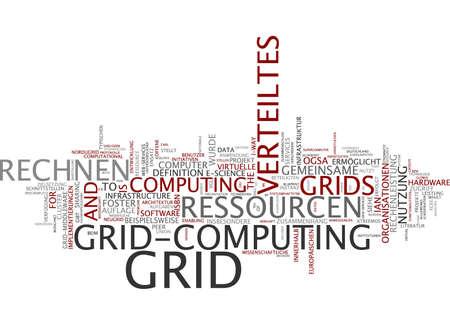 Word cloud of grid computing in German language photo
